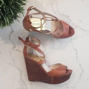 MICHAEL KORS Tan Leather Sandal Wedges US 9